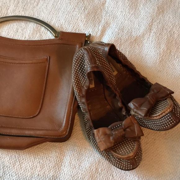 c02d401e388 Miu Miu Gold Studded Bow Flats Brown Leather. M 5a4d3b4d739d48cbef025647
